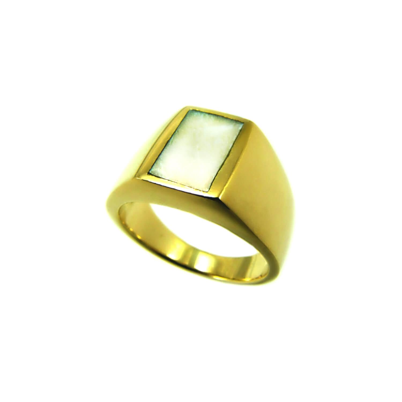 טבעת חותם דגם לוטם אם הפנינה